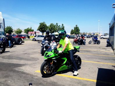 Jimmy on his bright green Kawi