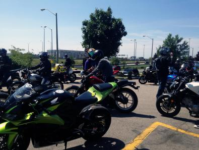 Bikes getting ready to leave for the ride
